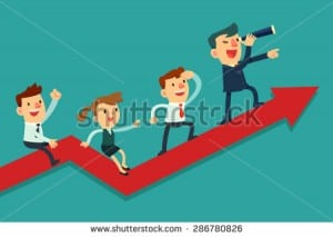 stock-vector-illustration-of-team-of-businessman-on-arrow-graph-team-leader-has-telescope-and-leading-his-team-286780826
